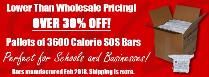 Clearance Pallet Door Crasher Sale SOS 3600 Ration Bars