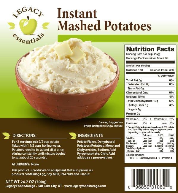 Mashed Potatoes Label