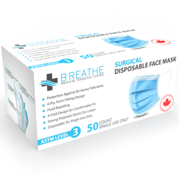 Surgical Disposable Face Mask - Made In Canada ASTM Level 3